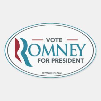 Voto Mitt Romney para el presidente (óvalo del Colcomanias De Óval Personalizadas