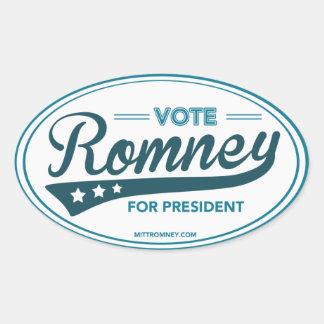 Voto Mitt Romney para presidente Swoosh (óvalo Pegatina Ovalada