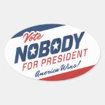 Voto nadie para presidente Stickers Calcomanías De Ovales Personalizadas