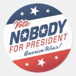 Voto nadie para presidente Stickers Etiquetas Redondas