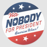 Voto nadie para presidente Stickers Pegatina Redonda