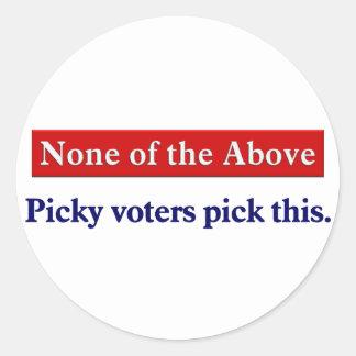 Voto ninguno del antedicho pegatina redonda