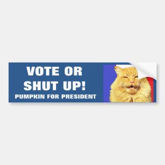 voto o cerrada calabaza para el presidente pegatina para auto