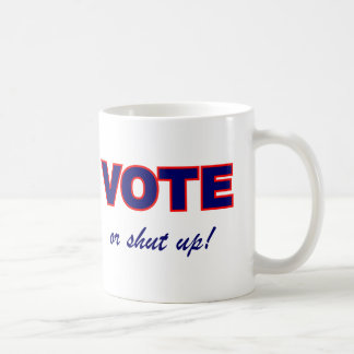 Voto o cerrado para arriba taza de café