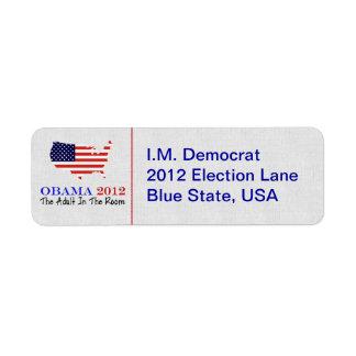 Voto Obama 2012 Etiquetas De Remite