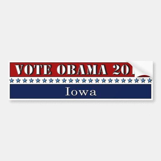 Voto Obama 2012 Iowa - pegatina para el parachoque Etiqueta De Parachoque