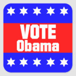 Voto Obama Calcomania Cuadrada Personalizada