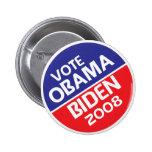 Voto Obama y Biden en 2008 Pins