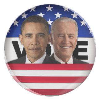 Voto Obama y Biden Platos