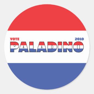 Voto Paladino 2010 elecciones blanco y azul rojos Pegatina Redonda