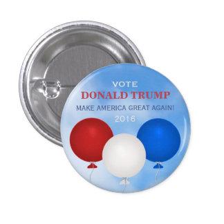 Voto para el botón de los globos de Donald Trump Pin Redondo De 1 Pulgada