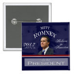 Voto para el botón de Mitt Romney 2012 Pins