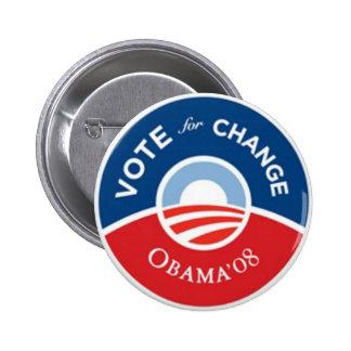 Voto para el botón de Obama del cambio Pin Redondo De 2 Pulgadas