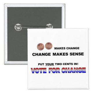 Voto para el cambio 2008 pins