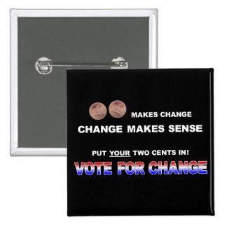 Voto para el cambio 2008 pin