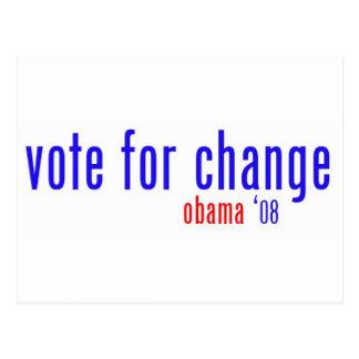 voto para el cambio tarjetas postales