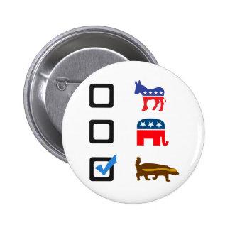 Voto para el tejón de miel pin redondo de 2 pulgadas