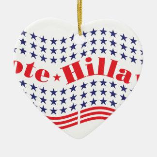 voto para hillary adorno navideño de cerámica en forma de corazón