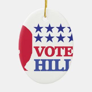 voto para hillary adorno navideño ovalado de cerámica