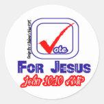 Voto para Jesús (Juan 10: 10) AMPERIO Pegatina Redonda