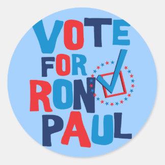 Voto para la elección 2012 de Ron Paul Pegatina Redonda
