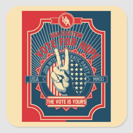Voto para la esperanza pegatina cuadrada