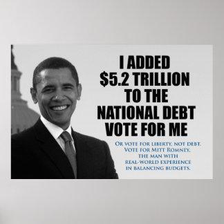 Voto para la libertad, no deuda. Poster anti de Ob