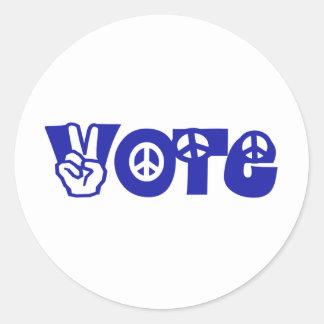 Voto para la paz pegatina redonda