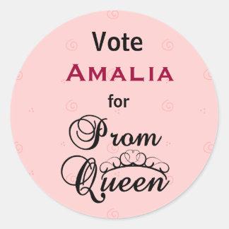 Voto para la reina de baile de fin de curso pegatina redonda