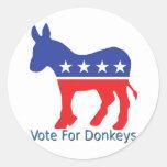 Voto para los burros etiqueta redonda