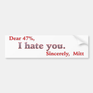 Voto para los odios de Barack Obama Mitt Romney us Pegatina De Parachoque