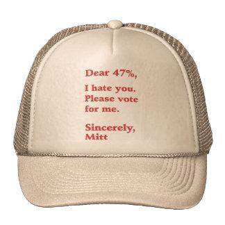 Voto para los odios de Barack Obama Mitt Romney us Gorra