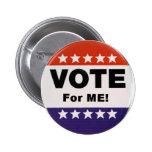 voto para mí botón pin