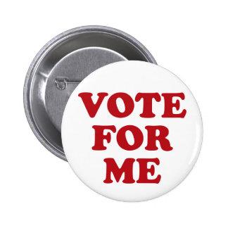 Voto para mí - rojo pin redondo de 2 pulgadas