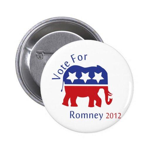 Voto para Mitt Romney 2012 Pins