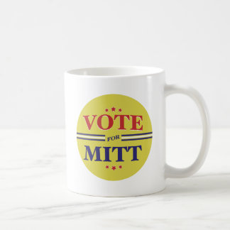 Voto para Mitt Romney redondo (amarillo) Tazas De Café