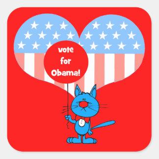 ¡voto para Obama! Pegatina Cuadrada