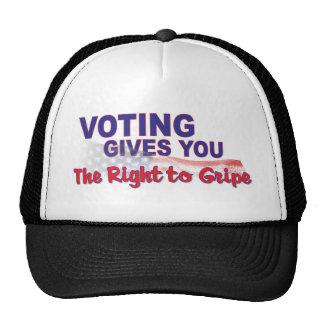 voto para que la derecha se queje gorras