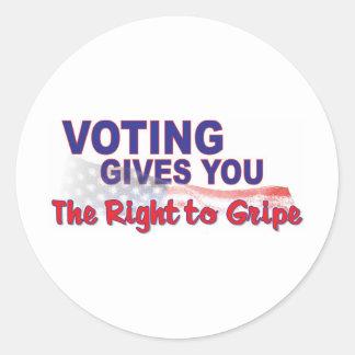 voto para que la derecha se queje pegatina redonda