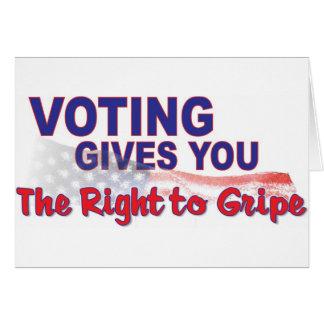 voto para que la derecha se queje tarjeta de felicitación