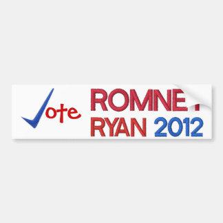Voto para Romney Ryan 2012 Pegatina De Parachoque
