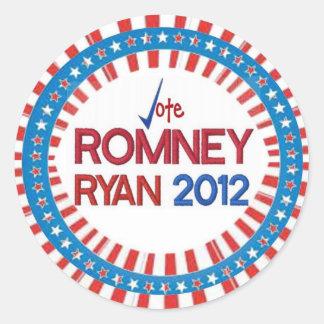 Voto para Romney Ryan 2012 pegatinas Pegatinas Redondas