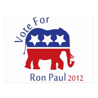 Voto para Ron Paul 2012 Tarjetas Postales