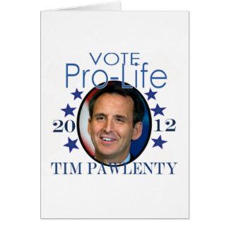 Voto para Tim Pawlenty Tarjeta De Felicitación