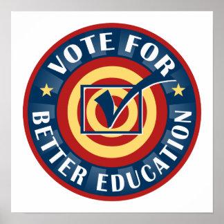 Voto para una mejor educación póster