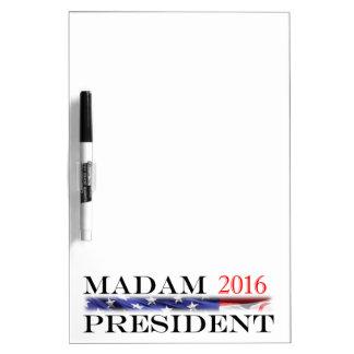 Voto para una señora presidente en 2016 tableros blancos