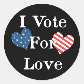 Voto por amor etiqueta redonda
