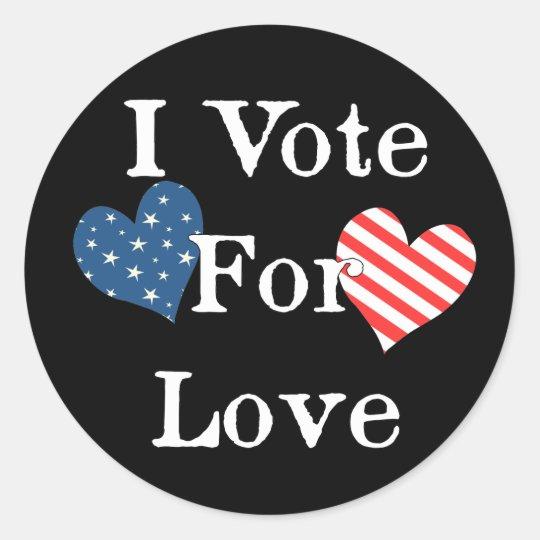 Voto por amor pegatina redonda