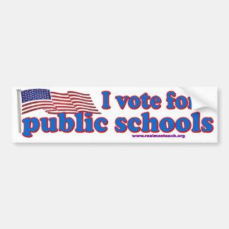 Voto por escuelas públicas pegatina de parachoque