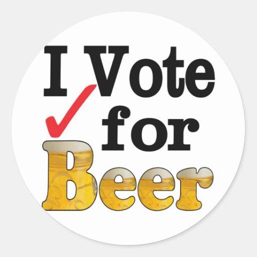 Voto por la cerveza pegatinas redondas